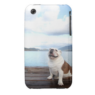 happy bull dog sitting on deck near lake Case-Mate iPhone 3 case