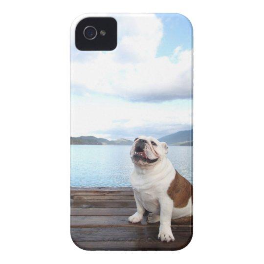 happy bull dog sitting on deck near lake Case-Mate iPhone 4 case