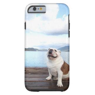 happy bull dog sitting on deck near lake tough iPhone 6 case