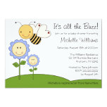 Happy Bumble Bee Blue Daisy Baby Shower Card