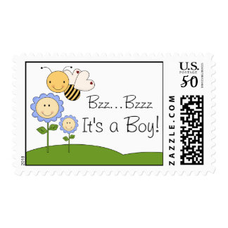 Happy Bumble Bee Blue Daisy Baby Shower Postage
