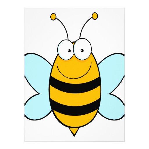 happy bumble bee goofy cartoon personalized invitations