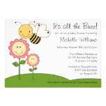 Happy Bumble Bee Pink Daisy Baby Shower Invitations