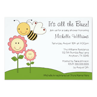 Happy Bumble Bee Pink Daisy Baby Shower 5x7 Paper Invitation Card
