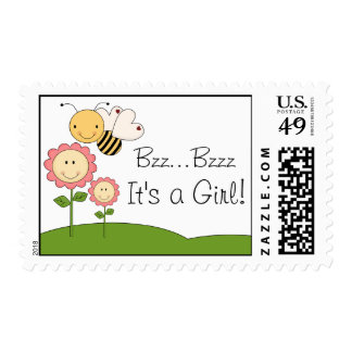 Happy Bumble Bee Pink Daisy Baby Shower Postage Stamp