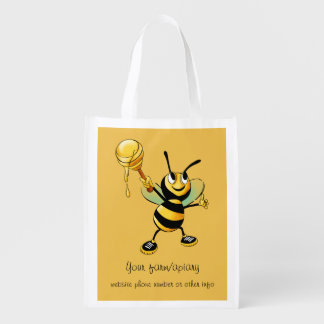 Happy Bumble Bee with a Scoop of Honey Business Grocery Bag