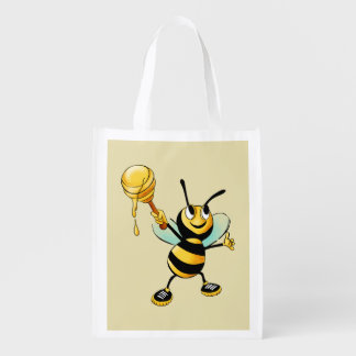 Happy Bumble Bee with a Scoop of Honey Reusable Grocery Bag