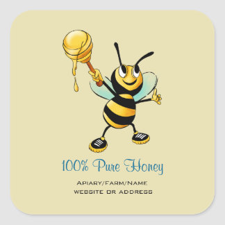 Happy Bumble Bee with a Scoop of Honey Square Sticker