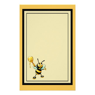 Happy Bumble Bee with a Scoop of Honey Stationery
