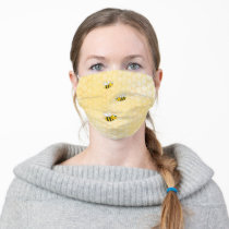 Happy bumble bees yellow honeycomb summer adult cloth face mask
