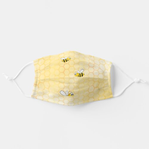 Happy bumble bees yellow honeycomb summer cloth face mask