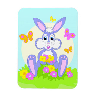 Happy Bunny Butterflies Flowers Cartoon Art Magnet