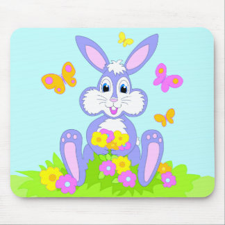 Happy Bunny Butterflies Flowers Cartoon Art Mouse Pad