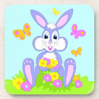 Happy Bunny Butterflies Flowers Cartoon Rabbit Drink Coaster