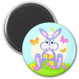 Happy Bunny Butterflies Flowers Cartoon Rabbit Magnet