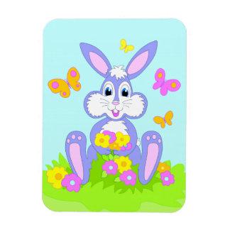 Happy Bunny Butterflies Flowers Cartoon Rabbit Rectangular Photo Magnet