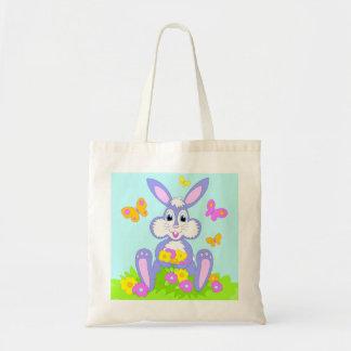 Happy Bunny Butterflies Flowers Cartoon Rabbit Tote Bag
