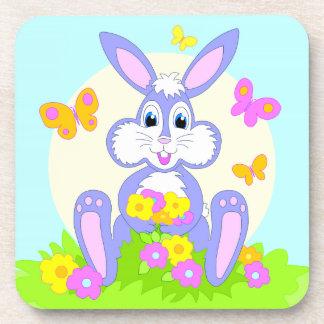 Happy Bunny Butterflies Flowers Cute Purple Rabbit Beverage Coaster