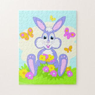 Happy Bunny Butterflies Flowers Cute Purple Rabbit Jigsaw Puzzle