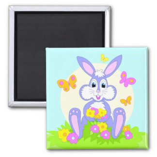 Happy Bunny Butterflies Flowers Cute Purple Rabbit Magnet
