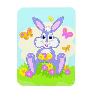 Happy Bunny Butterflies Flowers Cute Purple Rabbit Rectangular Photo Magnet