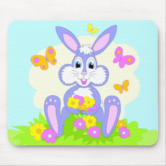 Happy Bunny Butterflies Flowers Mousepad