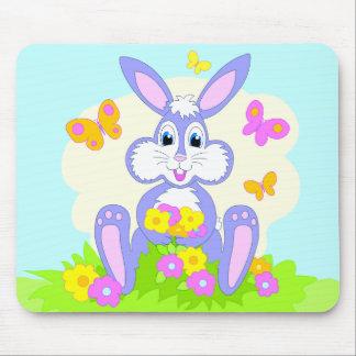 Happy Bunny Butterflies Flowers Mousepad
