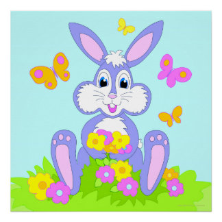 Happy Bunny Butterfly Flowers Poster