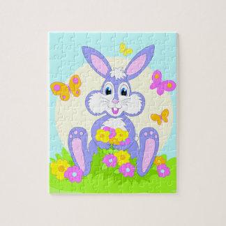 Happy Bunny Flowers Butterflies Cute Cartoon Art Jigsaw Puzzle