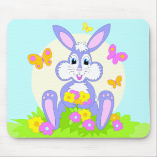Happy Bunny Flowers Butterflies Mousepad