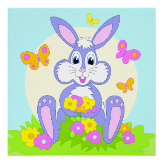 Happy Bunny Flowers Butterflies Poster