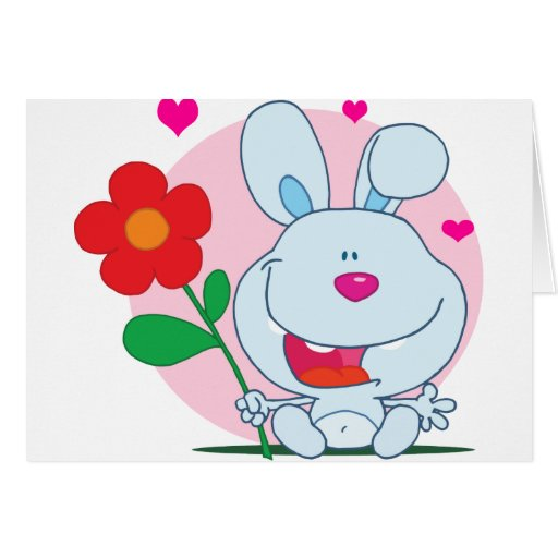 Happy Bunny holds flower Card