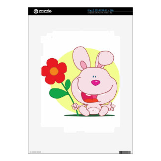 Happy bunny holds flower skin for iPad 2