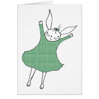 Happy Bunny Jumping! Greeting Card