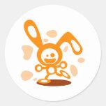 Happy Bunny(Orange) Classic Round Sticker