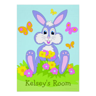 Happy Bunny Personalized Name Poster