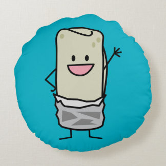 Happy Burrito Waiving Hello Round Pillow