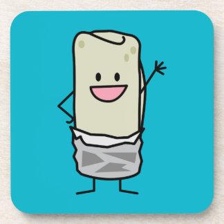 Happy Burrito Waving Hello Drink Coaster