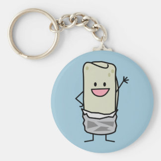 Happy Burrito Waving Hello Keychain