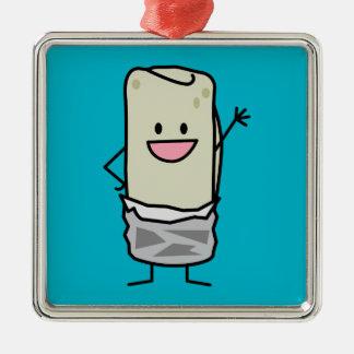 Happy Burrito Waving Hello Metal Ornament