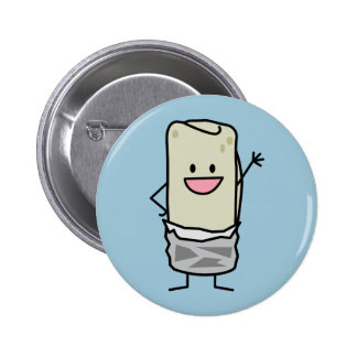 Happy Burrito Waving Hello Pinback Button
