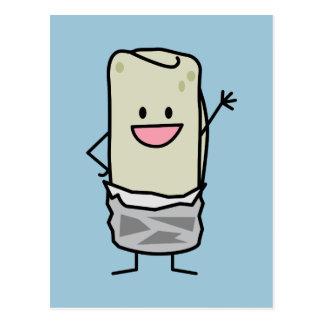 Happy Burrito Waving Hello Postcard