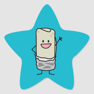 Happy Burrito Waving Hello Star Sticker