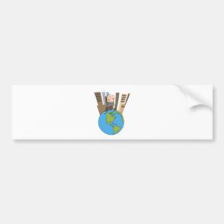 Happy Business Man Walking Around Globe Bumper Sticker