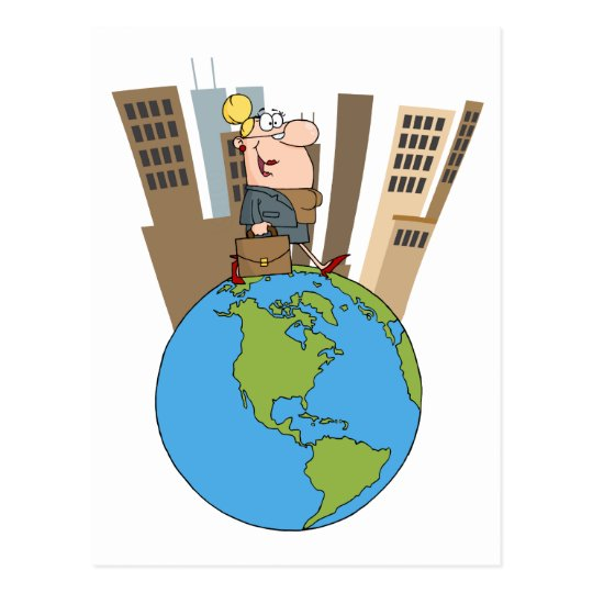 Happy Business Woman Walking Around Globe Postcard