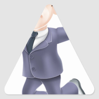 Happy businessman and scroll triangle sticker