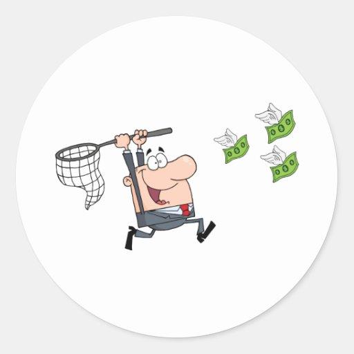 Happy Businessman Chasing Money Classic Round Sticker