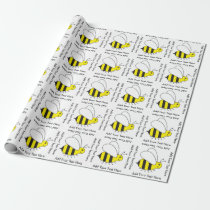 Happy Busy Bumble Bee Cute Gold and Black Wrapping Paper