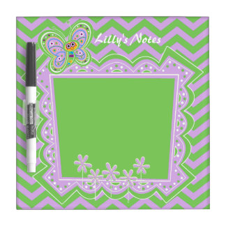 Happy Butterflies and Zigzag Pattern Dry-Erase Board