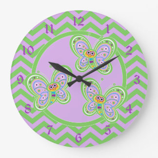 Happy Butterflies and Zigzags Wall Clock